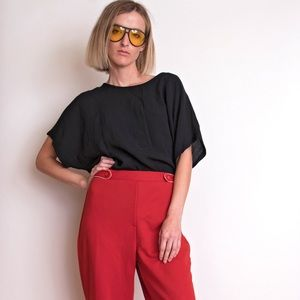 Vintage 90s black draped minimalist blouse top